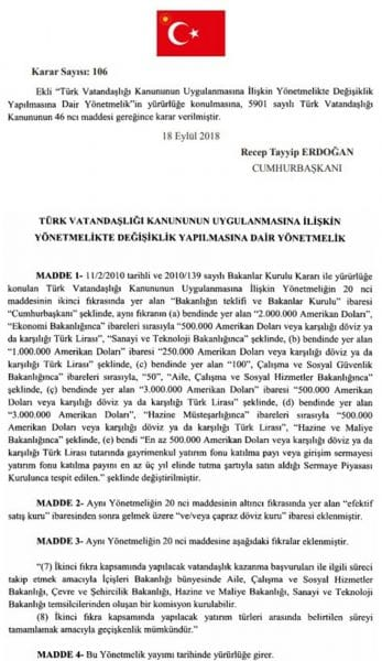Changes in Turkish law related to the Turkish citizenship ownership into force. 1